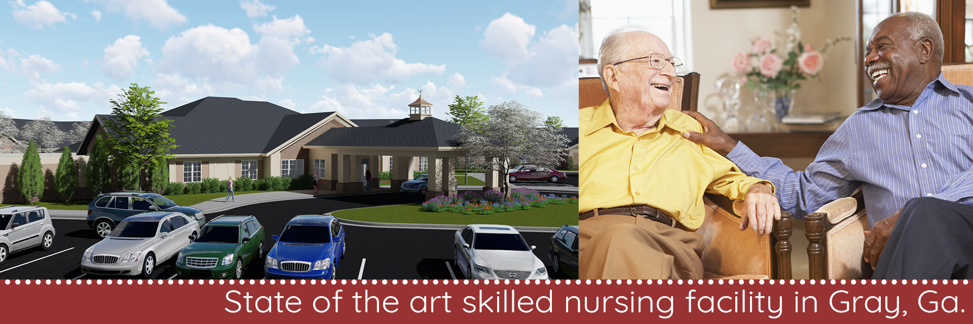 Architectural drawing of the front-left side of the skilled nursing facility